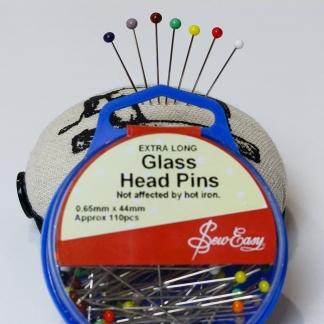 Sew Easy - Boite 110 Epingles de Couture Extra Longues à Têtes en Verre Coloré