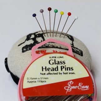 Sew Easy - Boite 110 Epingles de Couture Super Longues à Têtes en Verre Coloré