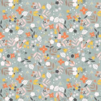 Dashwood Studio - Tissu Batiste de Viscose Ravishing Rayons Imprimé Fleurs sur le Fond Gris