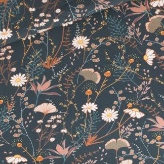 """See You at Six - Tissu Jersey Sweat Léger de Coton Imprimé Fleurs """"Flower Field"""" sur le Fond Bleu Nuit"""