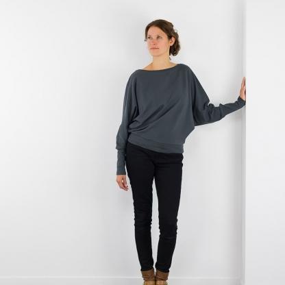 See You at Six - Tissu Jersey Sweat Léger de Coton Uni Couleur Bleu Nuit