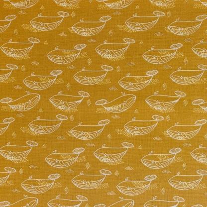 """Poppy - Tissu Popeline de Coton Imprimé Baleines """"Magnificent Whale"""" sur le Fond Moutarde"""