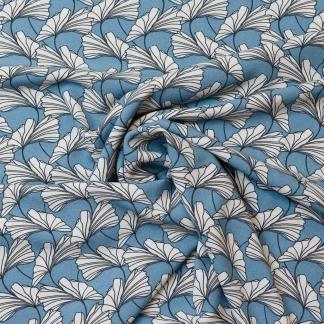 Sélection Coup de coudre - Tissu Crêpe Marocain Imprimé Feuilles Gingko sur le Fond Bleu Ciel