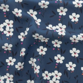 Dashwood Studio - Tissu Batiste de Viscose Soirée Imprimé Fleurs sur le Fond Bleu Nuit