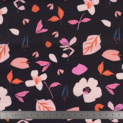 Dashwood Studio - Tissu Batiste de Viscose Soirée Imprimé Fleurs sur le Fond Ebène