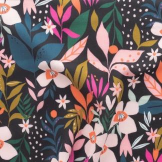 Dashwood Studio - Tissu Batiste de Viscose Soirée Imprimé Fleurs sur le Fond Noir