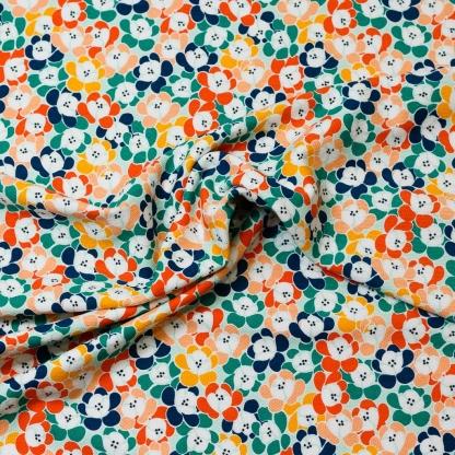 """Poppy - Tissu Jersey de Coton Texturé Imprimé Fleurs """"Floral Moments"""" sur le Fond Vert Menthe"""