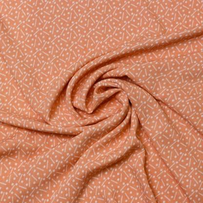 Sélection Coup de coudre - Tissu Crepe de Viscose Imprimé Pois et Traits sur le Fond Rose Corail