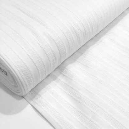 """Sélection Coup de coudre - Tissu Popeline de Coton Texturé """"Dobby"""" à Motif Rayures Couleur Blanc"""