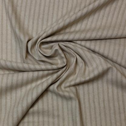 Sélection Coup de coudre - Tissu Toile de Lin et Viscose à Rayures sur le Fond Beige