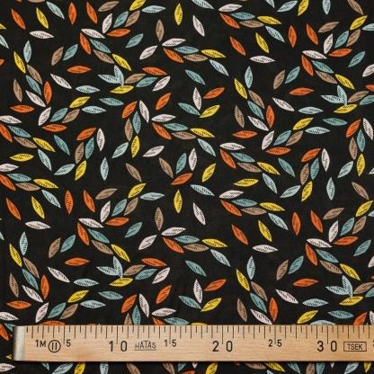 Dashwood Studio - Tissu Batiste de Viscose Ravishing Rayons Imprimé Feuilles Multicolores sur le Fond Noir