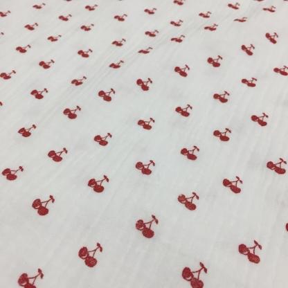 Poppy - Tissu Double Gaze de Coton Imprimé Cerises sur le Fond Blanc
