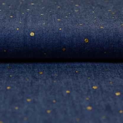 Sélection Coup de coudre - Tissu Denim de Coton Imprimé Pois Dorés sur le Fond Bleu Indigo