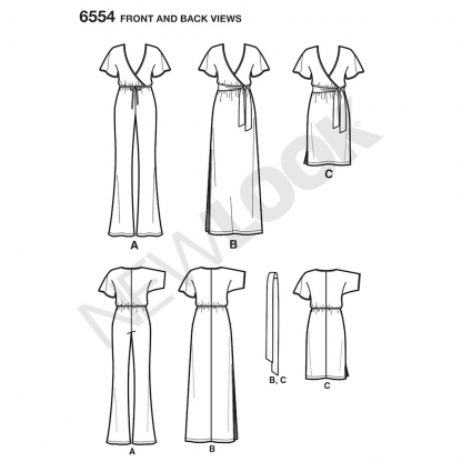 New Look – Patron Femme Robe ou Combinaison n°6554 du 34 au 46