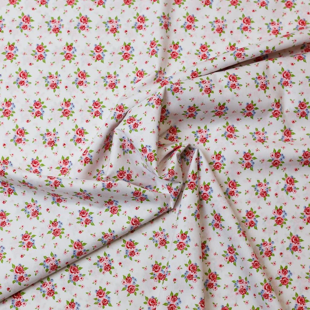 100/% coton motif floral tissu Aqua Bleu et Rose, Rose /& Hubble Coton popeline