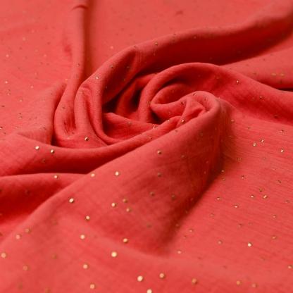 Sélection Coup de coudre - Tissu Double Gaze de Coton à Pois Dorés sur le Fond Corail