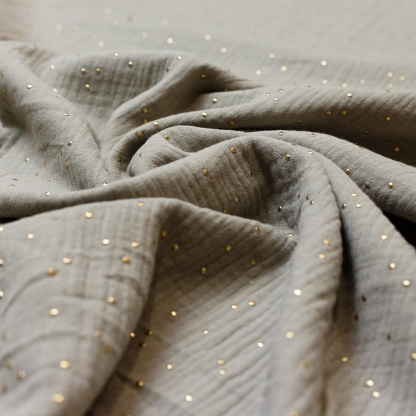 Sélection Coup de coudre - Tissu Double Gaze de Coton à Pois Dorés sur le Fond Gris Clair
