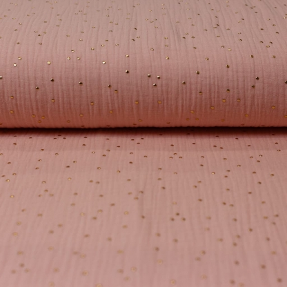 Sélection Coup de coudre - Tissu Double Gaze de Coton à Pois Dorés sur le Fond Rose Poudré