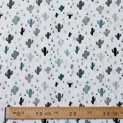 Sélection Coup de coudre - Tissu Popeline de Coton Imprimé Cactées sur le Fond Blanc