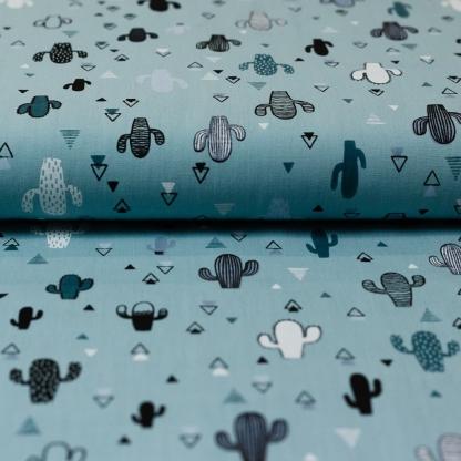 Sélection Coup de coudre - Tissu Popeline de Coton Imprimé Cactées sur le Fond Vert d'Eau