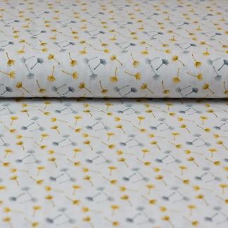 Sélection Coup de coudre - Tissu Popeline de Coton Imprimé Pissenlits sur le Fond Blanc