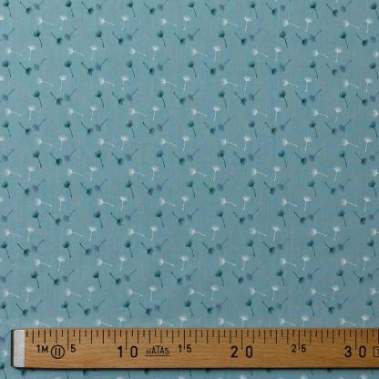 Sélection Coup de coudre - Tissu Popeline de Coton Imprimé Pissenlits sur le Fond Vert d'Eau