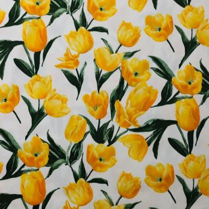 Sélection Coup de coudre - Tissu Satin de Coton Imprimé Tulipes sur le Fond Blanc