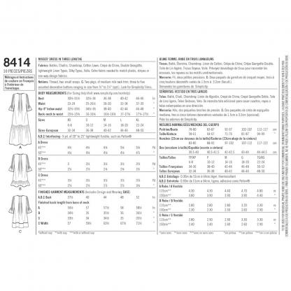 Simplicity – Patron Femme Robe à Volants n°8414/7000 du 34 au 52