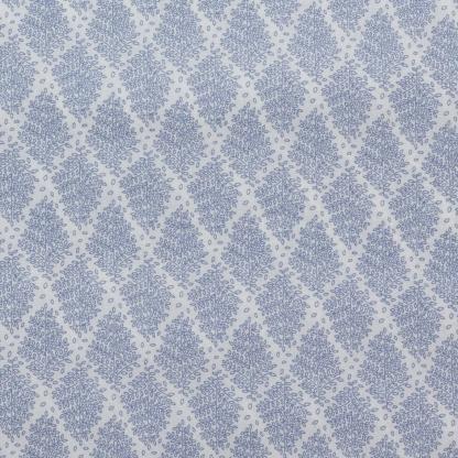 Sélection Coup de coudre - Tissu Batiste de Coton Imprimé Feuilles Bleu sur le Fond Blanc
