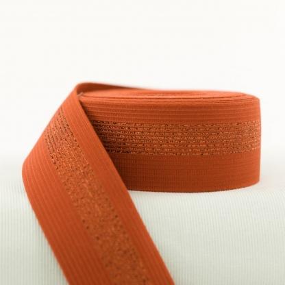 See You at Six - Ceinture Elastique Couleur Rouille avec Lignes en Cuivre