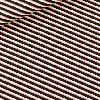 See You at Six - Tissu Toile de Coton Gabardine Imprimé Diagonals Blanc et Cuivre sur le Fond Noir