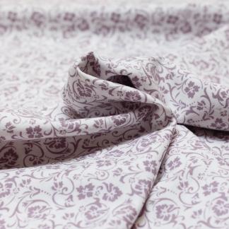 See You at Six - Tissu Sergé Twill de Coton Imprimé Fleurs Lilas sur le Fond Blanc