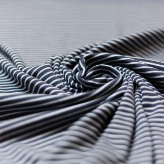C. Pauli - Tissu Jersey Interlock de Coton Bio à Rayures Blanc sur le Fond Bleu Gris