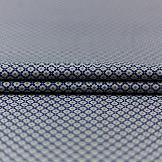 C. Pauli - Tissu Popeline Fine de Coton Bio Imprimé Carreaux Orientaux sur le Fond Blanc