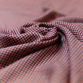 Fibre Mood - Tissu Twill de Viscose Imprimé Petits Carreaux Bleu et Rouge sur le Fond Blanc