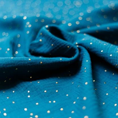 Sélection Coup de coudre - Tissu Double Gaze de Coton à Pois Dorés sur le Fond Bleu Canard