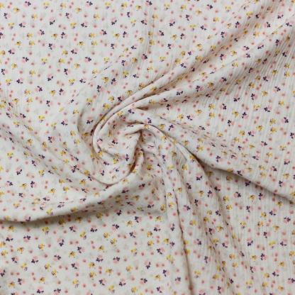 Sélection Coup de coudre - Tissu Double Gaze de Coton Imprimé Petits Fleurs sur le Fond Blanc