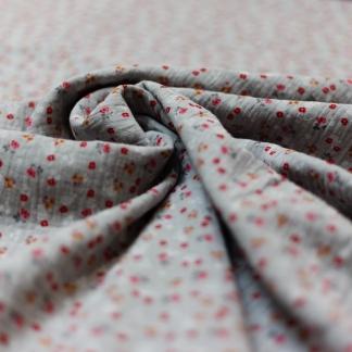 Sélection Coup de coudre - Tissu Double Gaze de Coton Imprimé Petits Fleurs sur le Fond Gris Clair