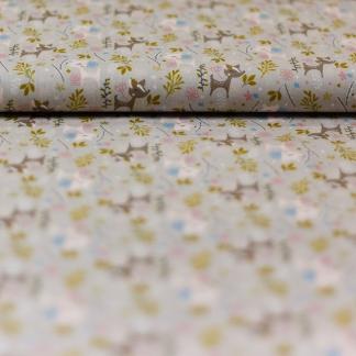"""Poppy - Tissu Popeline de Coton Imprimé Faon et Fleurs """"Oh Deer Glitter"""" sur le Fond Beige"""