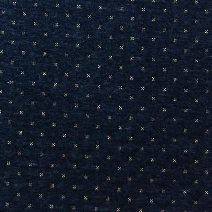 Sélection Coup de coudre - Tissu Jersey Molletonné Matelassé Double Face à Etoiles et Rayures Or sur le Fond Bleu Marine