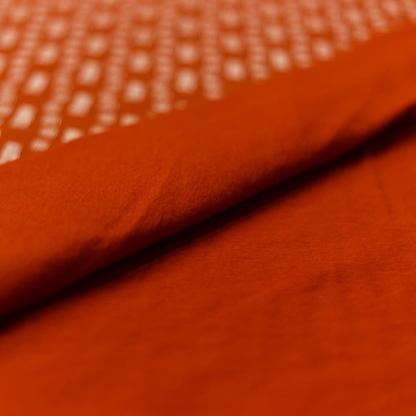 """Sélection Coup de coudre - Tissu Jersey Sweat de Coton Gratté Imprimé """"Fun Stripes"""" sur le Fond Rouille"""