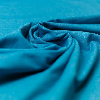 Sélection Coup de coudre - Tissu Jersey Sweat de Coton Gratté Imprimé Rayures sur le Fond Turquoise