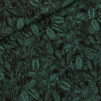 See You at Six - Tissu Popeline de Viscose Imprimé Feuilles Vert Colvert Cosy House Plants sur le Fond Noir