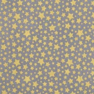 """Michael Miller - Tissu Popeline de Coton Imprimé Etoiles Dorés """"Starbrite"""" sur le Fond Gris"""