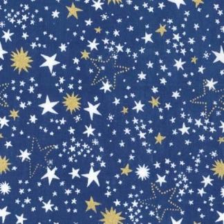 """Michael Miller - Tissu Popeline de Coton Imprimé Etoiles Dorés et Blanches """"Night Lights"""" sur le Fond Bleu Roi"""
