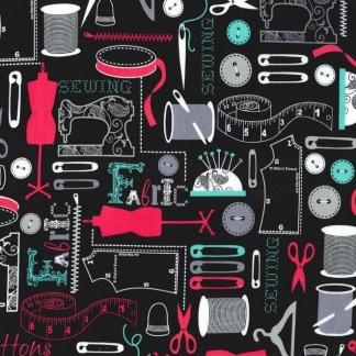 """Michael Miller - Tissu Popeline de Coton Imprimé Materiel de Couture """"Sew It"""" sur le Fond Noir"""