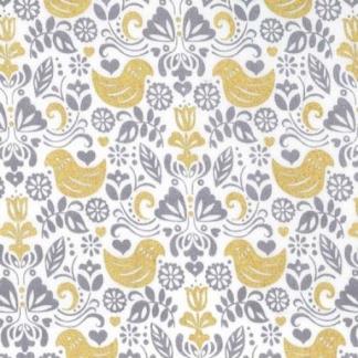 Michael Miller - Tissu Popeline de Coton Imprimé Oiseaux Dorés Bird Buddies sur le Fond Blanc Cassé