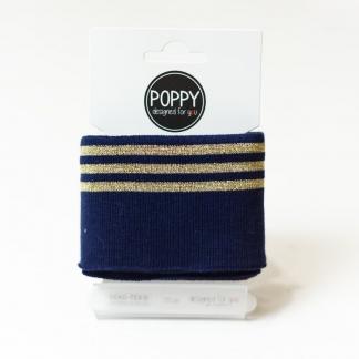 Poppy - Tissu Jersey Bord-Cotes à Rayures Lurex Doré sur le Fond Bleu Marine (Carte de 135 cm)