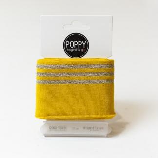 Poppy - Tissu Jersey Bord-Cotes à Rayures Lurex Doré sur le Fond Ocre (Carte de 135 cm)