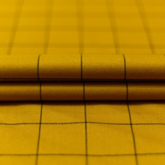 Sélection Coup de coudre - Tissu Gabardine de Viscose à Carreaux Gris sur le Fond Ocre